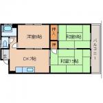 【3DK】八幡東区昭和賃貸/セブンイレブン至近♪エレベーターあり都市ガス・設備一部あり♪(間取)